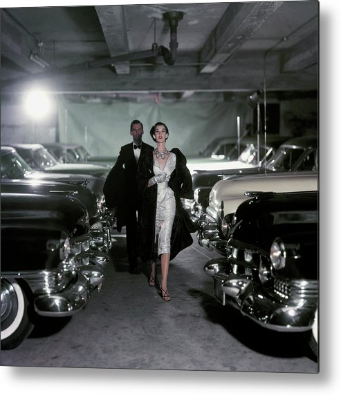 Fashion Metal Print featuring the photograph Barbara Mullen With Cars by John Rawlings