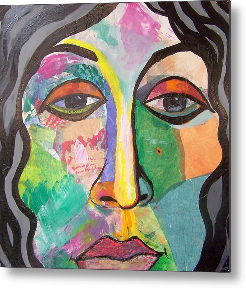 Collage Metal Print featuring the painting Beaatrice by MtnWoman Silver
