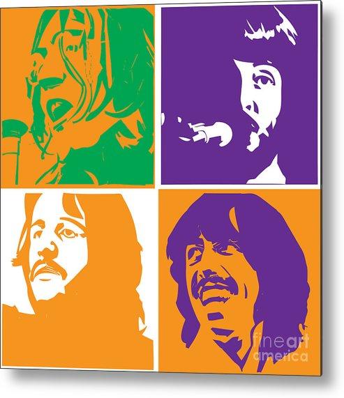 Artwork Metal Print featuring the digital art Beatles Vinil Cover Colors Project No.02 by Geek N Rock