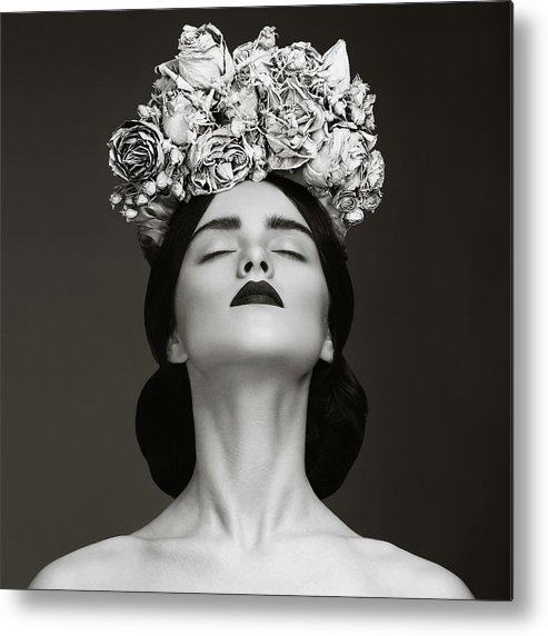 Crown Metal Print featuring the photograph Beautiful Woman With Wreath Of Flowers by Lambada