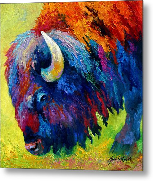 Wildlife Metal Print featuring the painting Bison Portrait II by Marion Rose