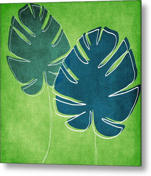 Palm Tree Metal Print featuring the painting Blue and Green Palm Leaves by Linda Woods