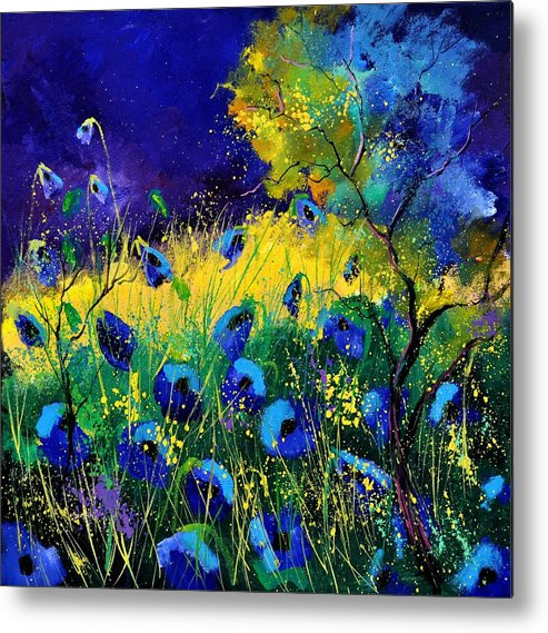 Landscape Metal Print featuring the painting Blue poppies 7741 by Pol Ledent