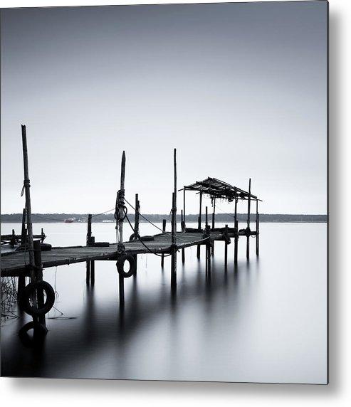 Tranquility Metal Print featuring the photograph Bootssteg Im Alten Hafen Klein Zicker by Spreephoto.de