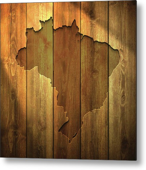 Material Metal Print featuring the digital art Brazil Map On Lit Wooden Background by Bgblue