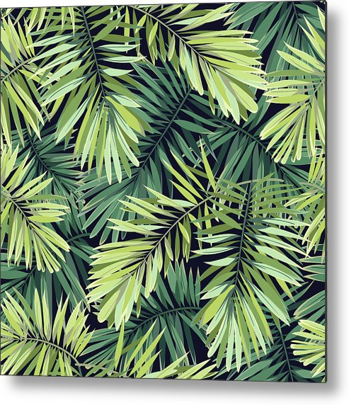 Tropical Rainforest Metal Print featuring the digital art Bright Green Background With Tropical by Msmoloko