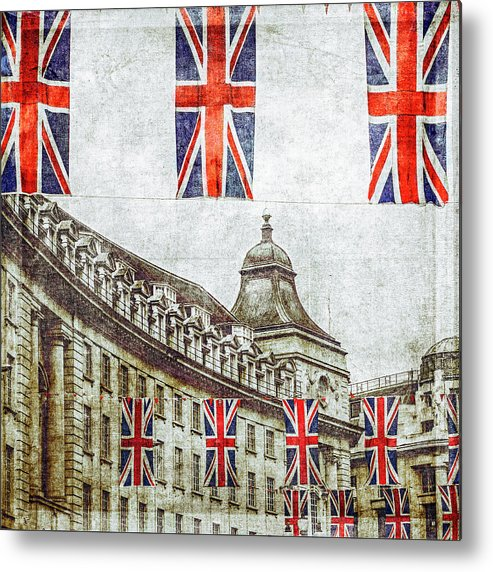 Hanging Metal Print featuring the photograph British Flags Flying Above Regent St by Doug Armand