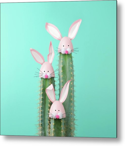 Easter Bunny Metal Print featuring the photograph Cactus With Easter Rabbit Decorations by Juj Winn