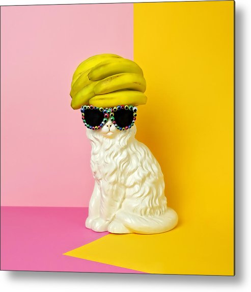 Statue Metal Print featuring the photograph Cat Wearing Sunglasses And Banana Wighat by Juj Winn