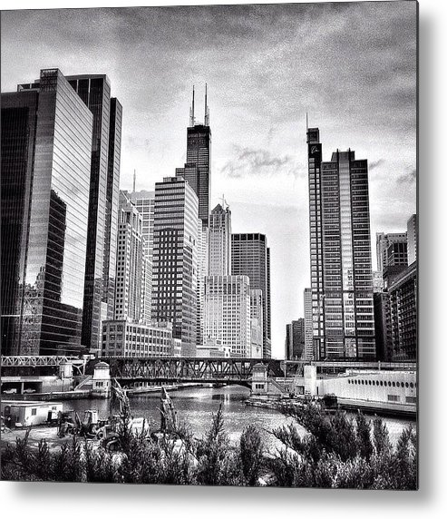 America Metal Print featuring the photograph Chicago River Buildings Black and White Photo by Paul Velgos