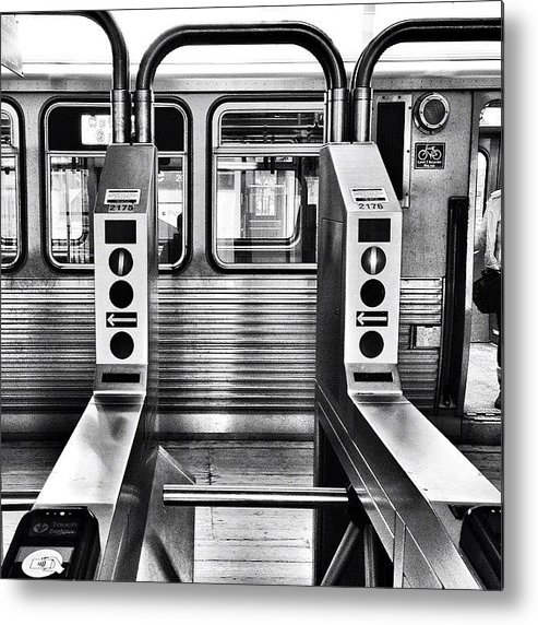 Chicagogram Metal Print featuring the photograph Chicago L Train Gate In Black And White by Paul Velgos