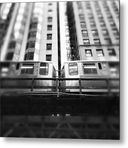 America Metal Print featuring the photograph Chicago L Train In Black And White by Paul Velgos