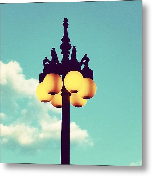 Chicago Metal Print featuring the photograph Chicago Lamp Post And Blue Skies by Jill Tuinier