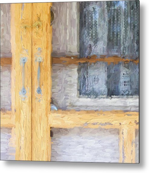 Curtains Metal Print featuring the photograph Church Camp House Detail Painterly Series 14 by Carol Leigh
