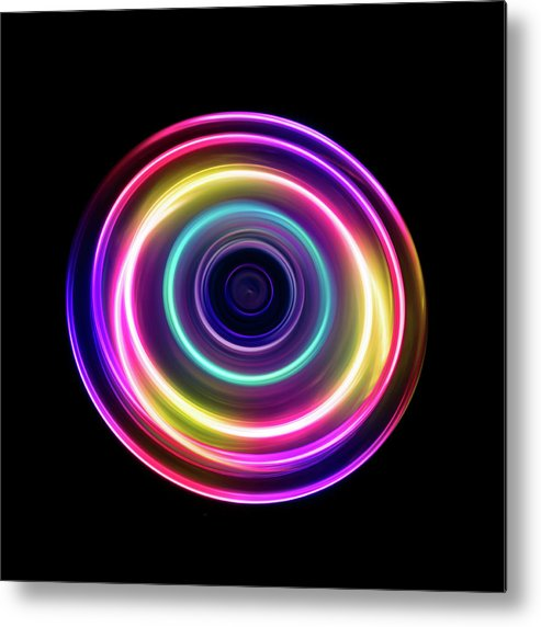 Focus Metal Print featuring the photograph Circle Light Trails by Miragec