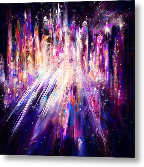 Abstract Metal Print featuring the digital art City Nights City Lights by William Russell Nowicki