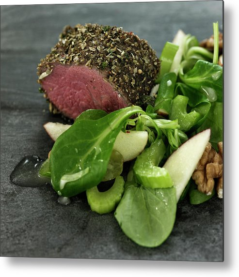 Tenderloin Metal Print featuring the photograph Close Up Of Salad And Roasted Meat by Lisbeth Hjort