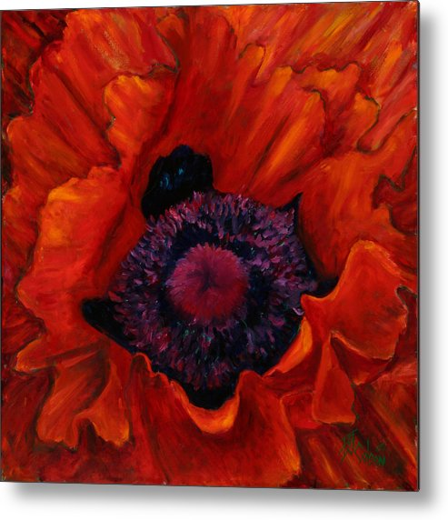Red Poppy Metal Print featuring the painting Close up Poppy by Billie Colson