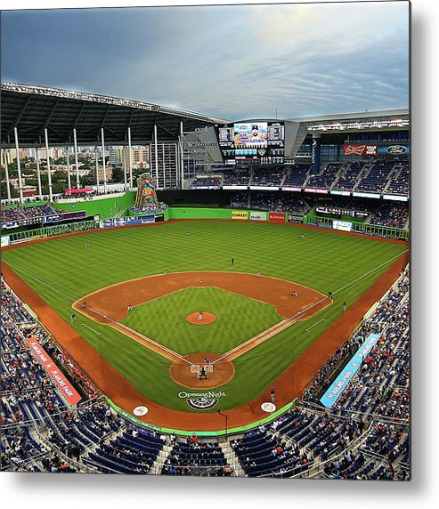 American League Baseball Metal Print featuring the photograph Colorado Rockies V Miami Marlins by Mike Ehrmann