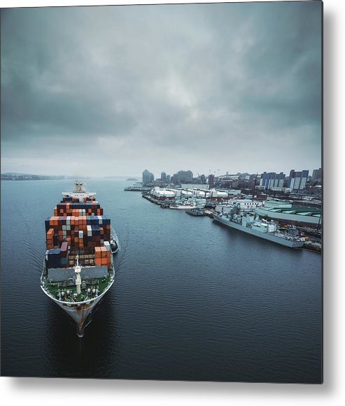 Freight Transportation Metal Print featuring the photograph Container Ship In Halifax Harbour by Shaunl