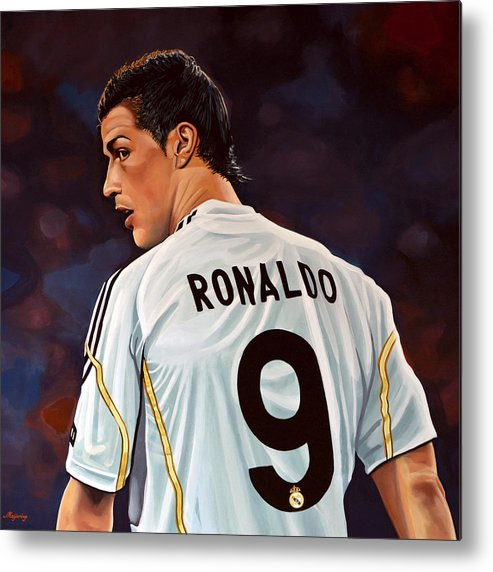 Real Madrid Metal Print featuring the painting Cristiano Ronaldo by Paul Meijering
