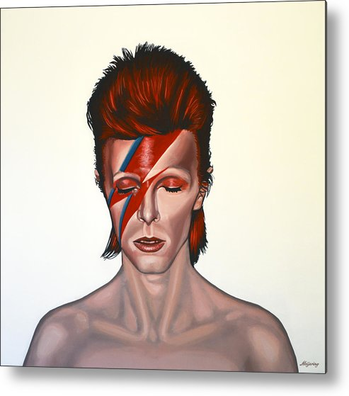 David Bowie Metal Print featuring the painting David Bowie Aladdin Sane by Paul Meijering