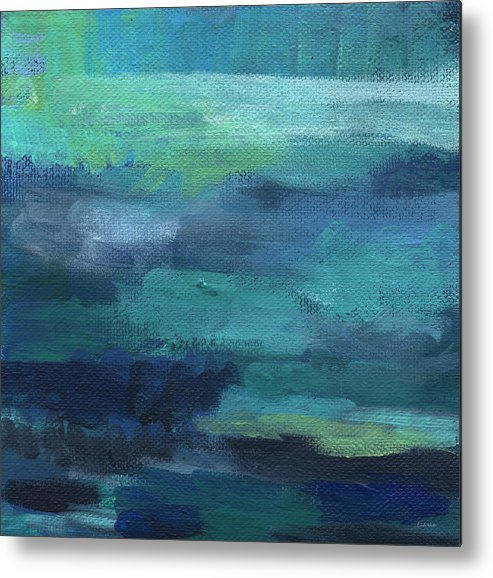 Blue Metal Print featuring the painting Tranquility- abstract painting by Linda Woods