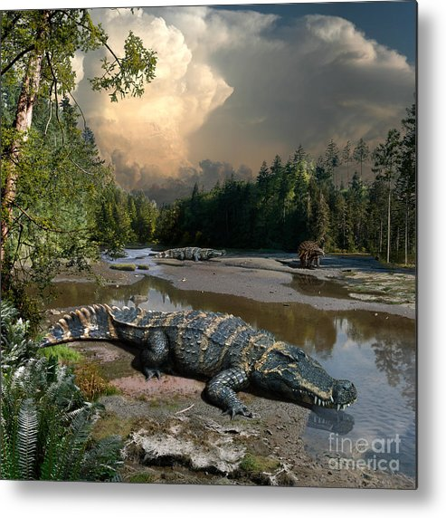 Dinosaur Metal Print featuring the digital art Deinosuchus by Julius Csotonyi