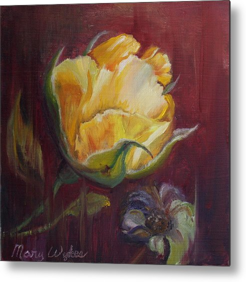 Rose Metal Print featuring the painting Destiny by Mary Beglau Wykes