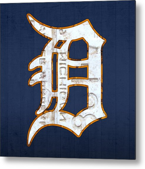 Detroit Tigers Baseball Old English D Logo License Plate Art Sports Michigan License Plate Map Metal Print featuring the mixed media Detroit Tigers Baseball Old English D Logo License Plate Art by Design Turnpike