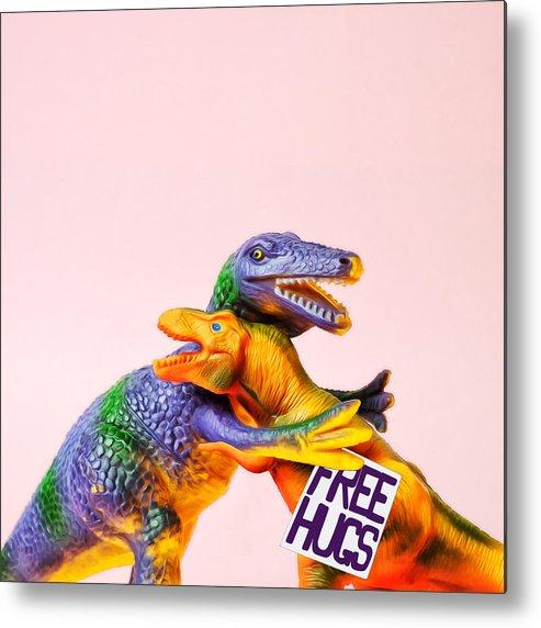 Fun Metal Print featuring the photograph Dinosaurs Hugging by Juj Winn