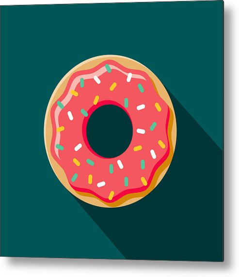 Unhealthy Eating Metal Print featuring the drawing Donut Flat Design Coffee & Tea Icon by Bortonia