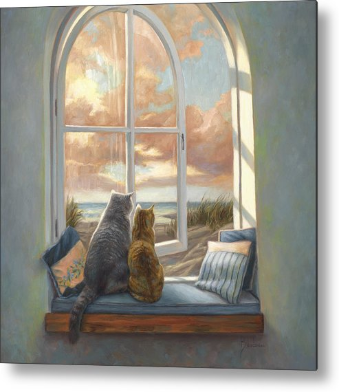 Cat Metal Print featuring the painting Enjoying The View by Lucie Bilodeau
