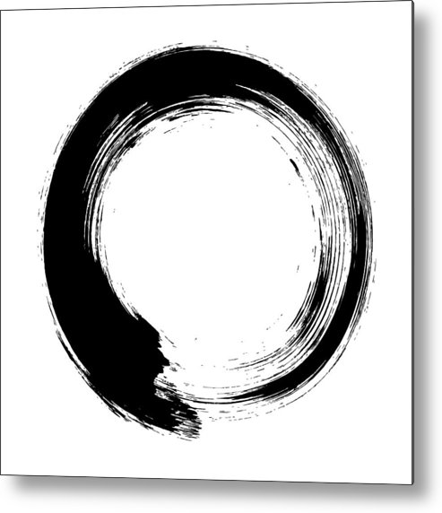 East Metal Print featuring the digital art Enso – Circular Brush Stroke Japanese by Thoth adan