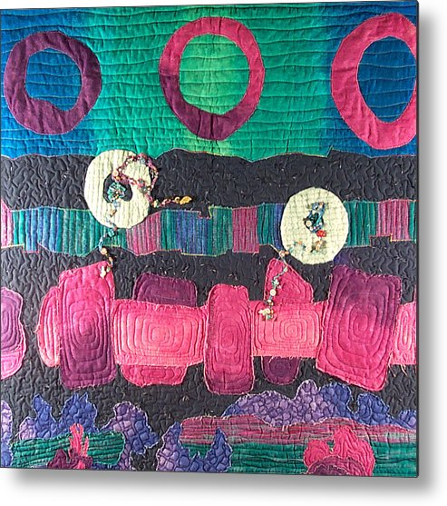 Wallhanging Metal Print featuring the tapestry - textile Essential Circles by MtnWoman Silver