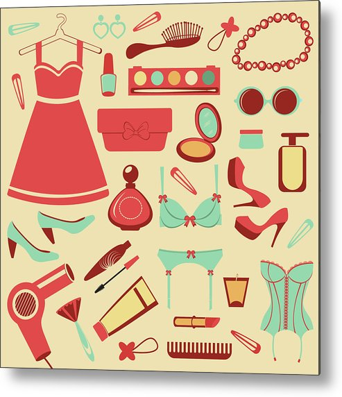 Swimwear Metal Print featuring the photograph Fashion Items Set by Olillia