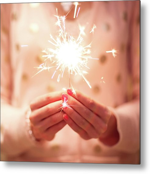 Firework Display Metal Print featuring the photograph Girl Holding Small Sparkler by Sasha Bell