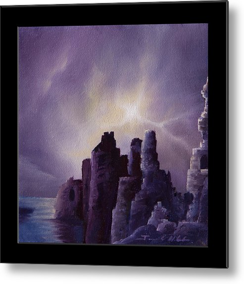 Sunrise Metal Print featuring the painting Girnigoe Castle by James Christopher Hill
