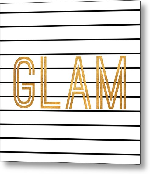 Glam Metal Print featuring the digital art Glam Pinstripe Gold by South Social Studio