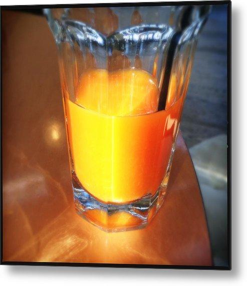 Orange Juice Metal Print featuring the photograph Glass with orange fruit juice by Matthias Hauser