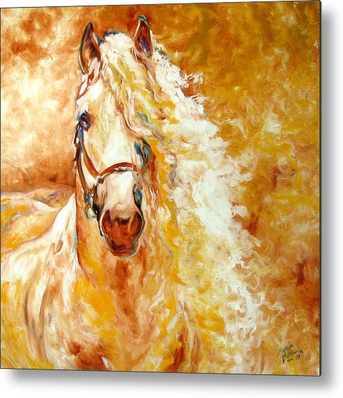 Horse Metal Print featuring the painting Golden Grace Equine Abstract by Marcia Baldwin