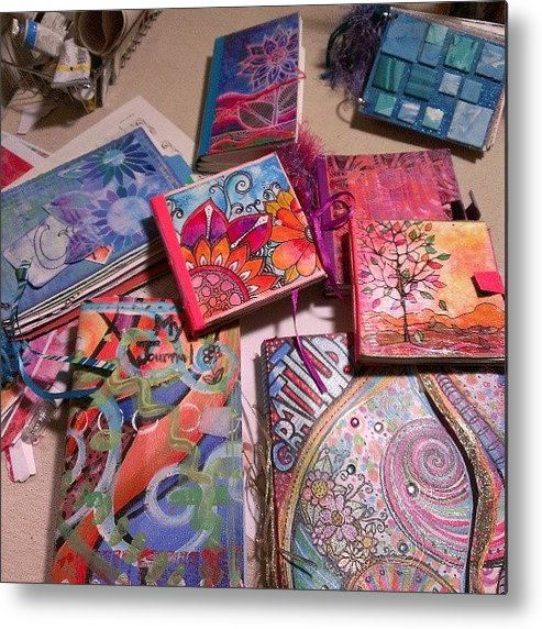 Mixedmedia Metal Print featuring the photograph Handmade Journal Stash...#artjournal by Robin Mead