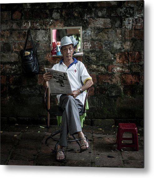 Smoke Metal Print featuring the photograph Hanois Street Style Barbers by Chris Mcgrath