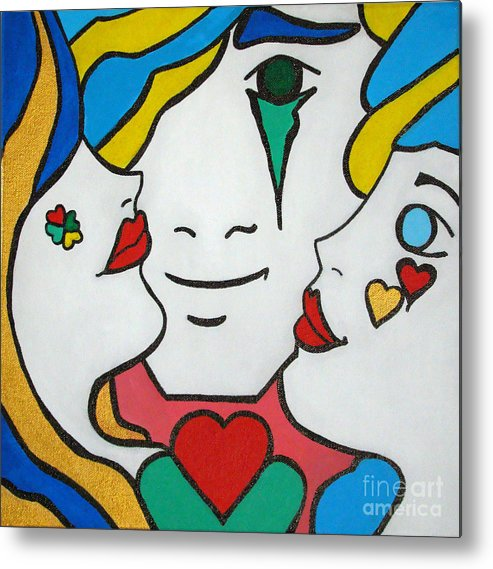 Pop-art Metal Print featuring the painting Happy Days by Silvana Abel