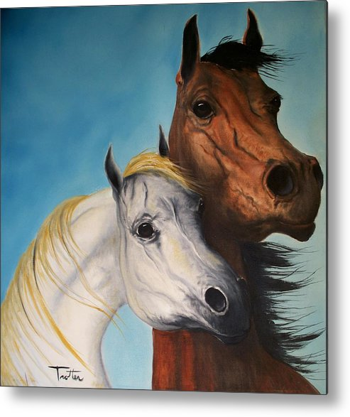 Horse Metal Print featuring the painting Horse Lovers by Patrick Trotter