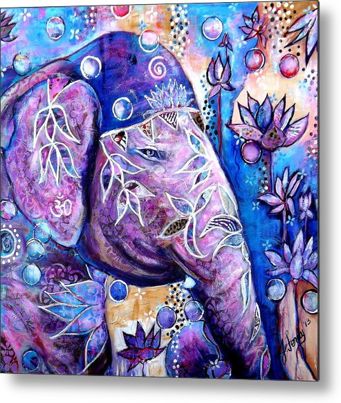 Elephant Paintings Metal Print featuring the painting I am Light by Goddess Rockstar