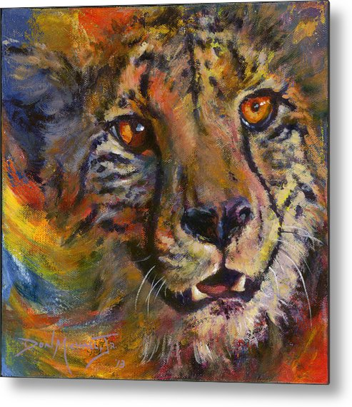 Cheetah Metal Print featuring the painting I Spy by Don Michael Jr