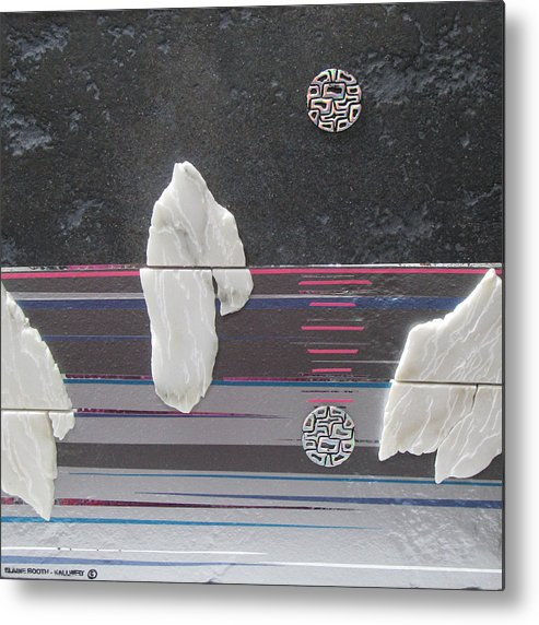 Assemblage Metal Print featuring the mixed media Ice Bergs by Elaine Booth-Kallweit