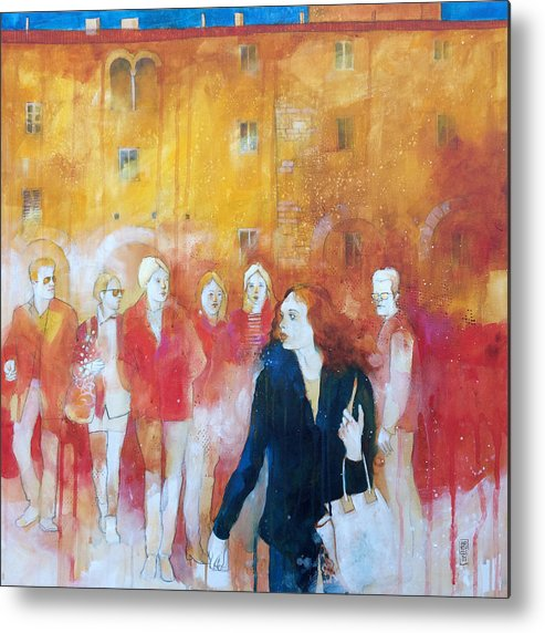 Wall Metal Print featuring the painting Incontri casuali nella piazza by Alessandro Andreuccetti