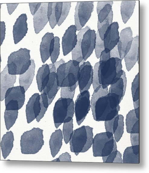 Abstract Painting Metal Print featuring the mixed media Indigo Rain- abstract blue and white painting by Linda Woods